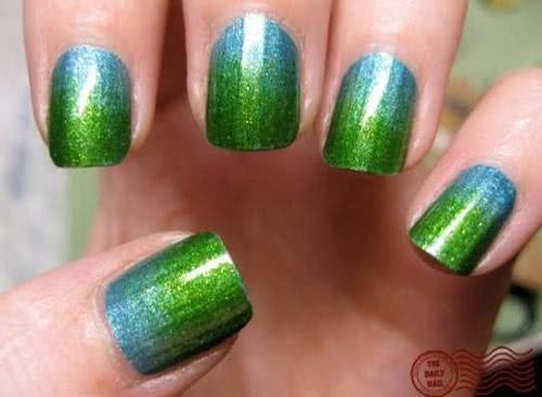 unhas decoradas degrade verde